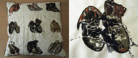 Embroidered pillow (Van Gogh's shoes)